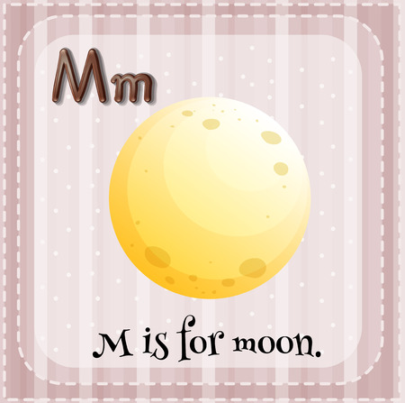 Illustration of an alphabet M is for moon Vector