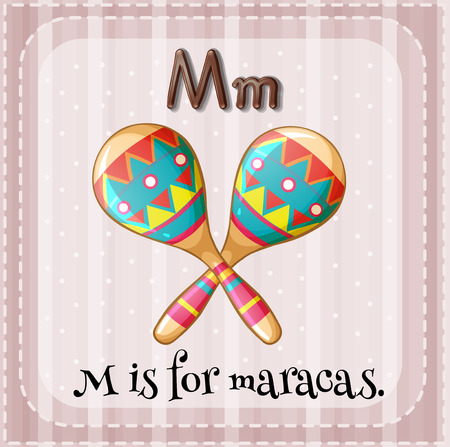 maracas: A letter M which stands for maracas Illustration