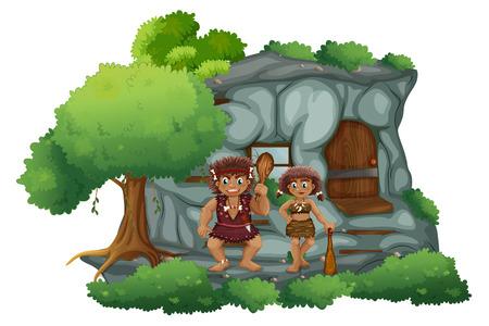 stone age: Illustration of male and female cavemen