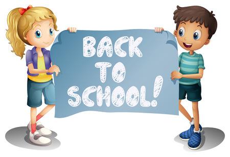banner infantil: Ilustración de una niña y un niño con un nuevo a muestra de la escuela Vectores