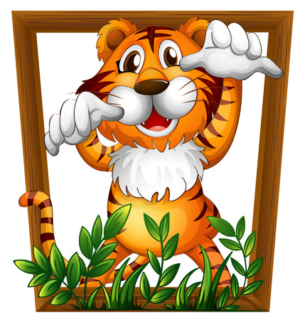 conserved: Illustration of a tiger in a frame