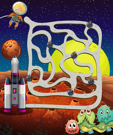 Illustration of a maze game with space background