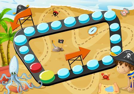brettspiel: Illustration von einem Brettspiel mit Piraten Hintergrund