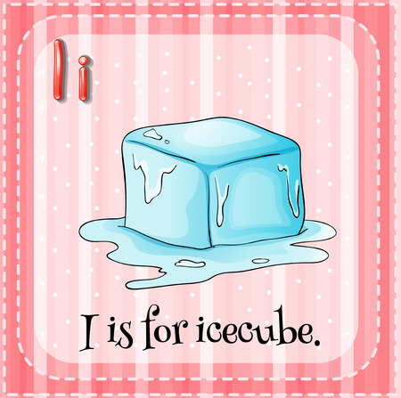 i kids: Illustration of an alphabet i is for icecube