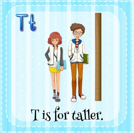 taller: Illustration of a letter T is for taller