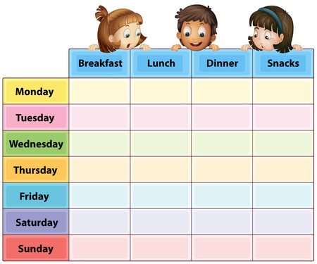 routines: Illustration of a timetable of eating time
