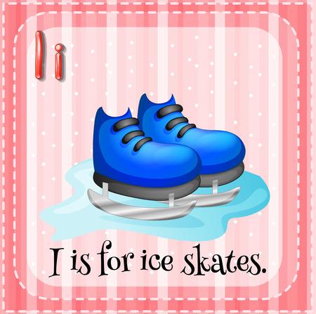 ice alphabet: Illustration of an alphabet i is for ice skates