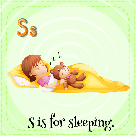 big and small: A letter S which stands for sleeping Illustration