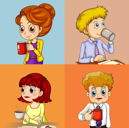 cartoon frame: A group of people drinking coffee Illustration