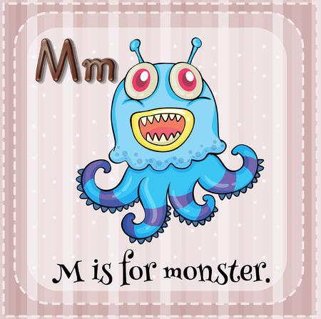 Illustration of an alphabet M is for monster Vector