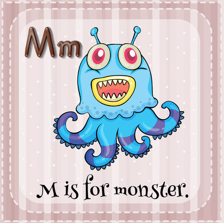 unreal unknown: Illustration of an alphabet M is for monster