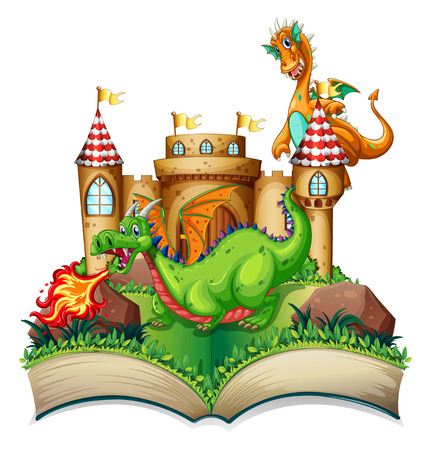 Illustration of a popup book with dragon and castle