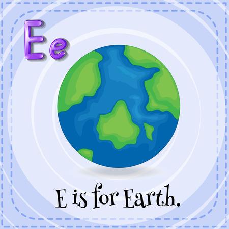 e alphabet: Illustration of an alphabet E is for Earth Illustration