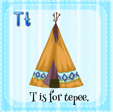tepee: A letter T which stands for tepee Illustration