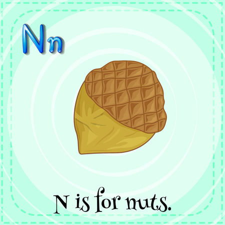 linguistic: Illustration of a letter N is for nuts