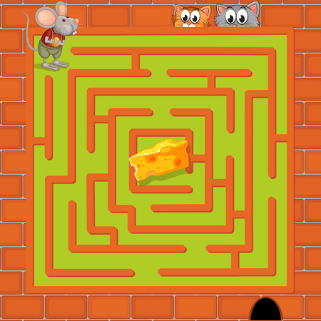 cheese cartoon: Illustration of a maze game with cats and a rat