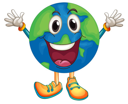 planeta tierra feliz: Ilustración de una tierra con la cara feliz
