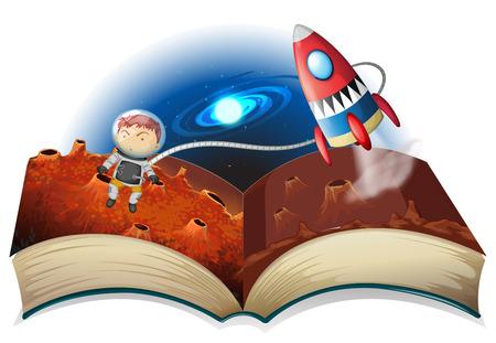 Illustration eines Astronauten fliegen in den Raum