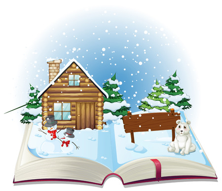 Illustration of a popup book of winter