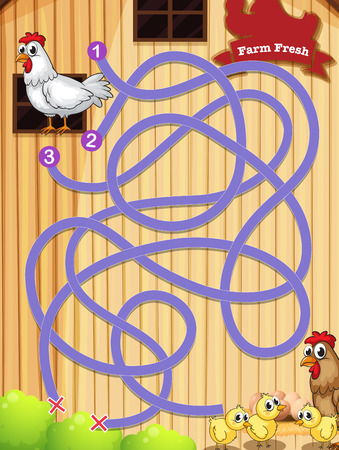 Illustration of a maze game with chicken background Vector