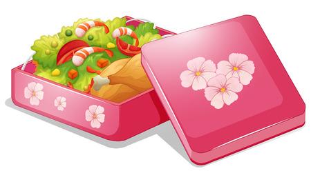 Illustrazione di un lunchbox rosa con pollo e insalata