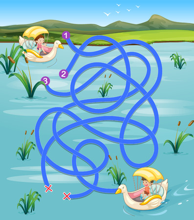 Illustration of a maze puzzle with a pond background