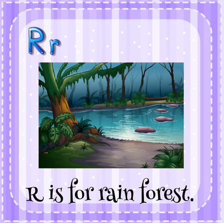 linguistic: Illustration of a letter r is for rain forest