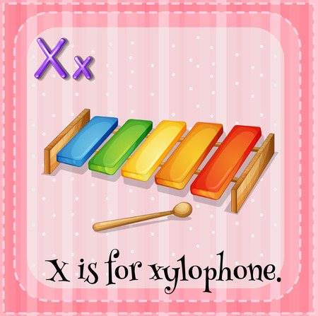 xylophone: Illustration of an alphabet X is for xylophone