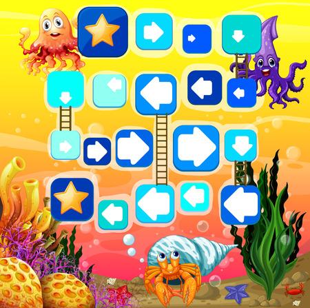 brettspiel: Illustration von einem Brettspiel mit Unterwasser-Hintergrund Illustration
