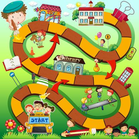 Illustrazione di un gioco da tavolo con sfondo scuola