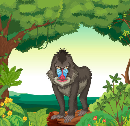 plant stand: Illustration of a baboon standing in a jungle