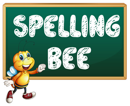 spelling: Illustration of a bee flying in front of a board Illustration