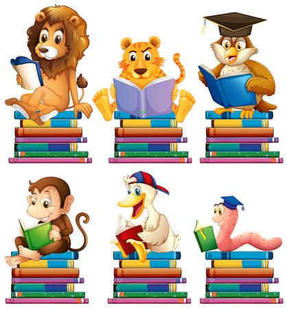 lion dessin: Illustration des animaux en lisant des livres