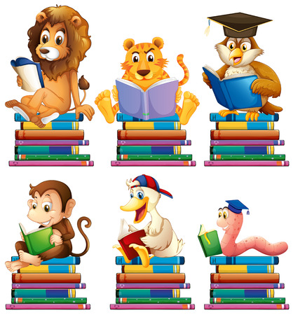 knowledge clipart: Illustration of animals reading books