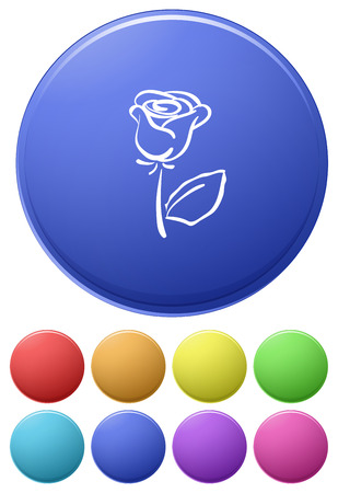 nectars: Small buttons and a big button with a flower on a white background Illustration
