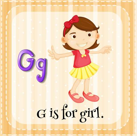 g alphabet: Illustration of an alphabet G is for girl Illustration