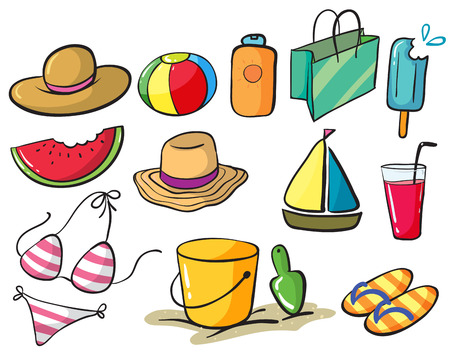 sandles: Illustration of a set of things related to the beach Illustration
