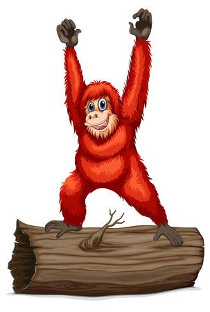 orangutan: Illustration of an orangutan on a log