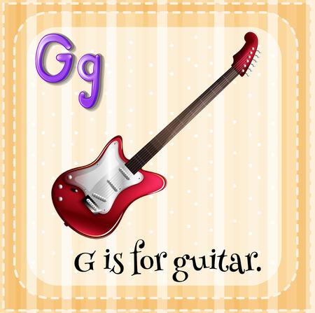 g string: Illustration of an alphabet g is for guitar
