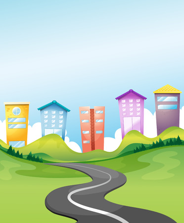 landscape road: Illustration of a view of a city