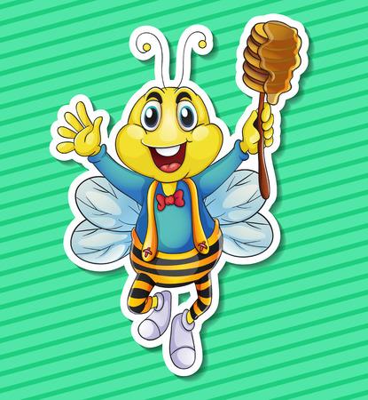 stick bug: Illustration of a bee holding honey Illustration