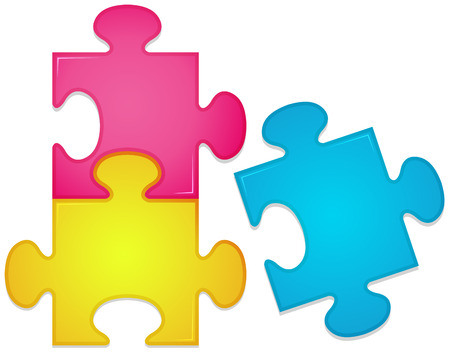 problemsolving: Illustration of three pieces of jigsaw puzzle