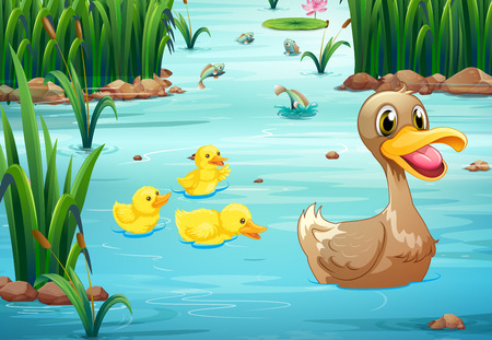 Illustration of ducks swimming in the pond Illustration