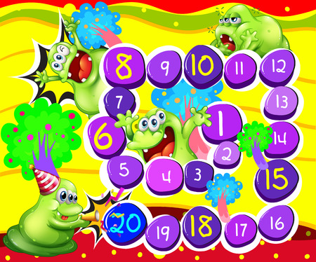 numbers clipart: Illustration of a board game with monster background Illustration