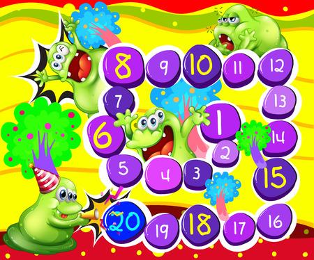 brettspiel: Illustration von einem Brettspiel mit Monster Hintergrund Illustration