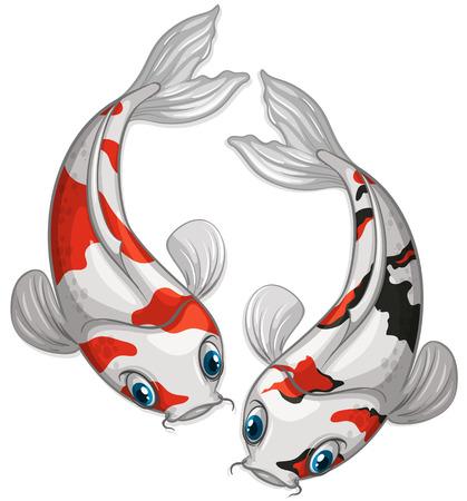 Illustration of two kois swimming Illustration