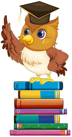 picture book: Illustration of an owl standing on a stack of books