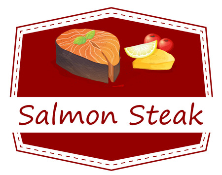 fish steak: Illustration of a menu set of salmon steak