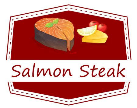 salmon steak: Illustration of a menu set of salmon steak