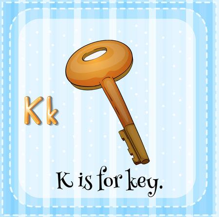 Illustration of an alphabet K is for key Vector